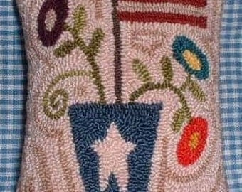 Primitive Needle Punch Pillow Pin Keep Americana Vase of Flowers and Flag