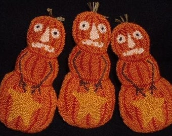 Primitive Needle Punch PATTERN Ornies Bowl Fillers Pumpkin Guys