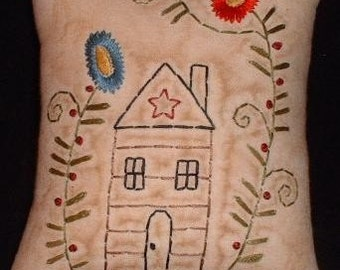 Primitive Stitchery PATTERN - Star - Cabin and Flowers