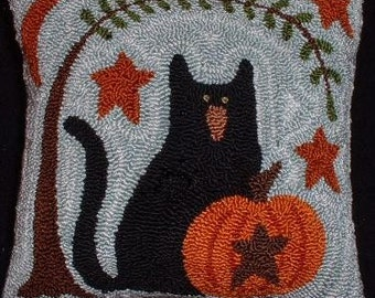 Primitive Needle Punch Pillow Kitty Pumpkin and Willow Tree