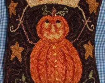 Primitive Needle Punch Pillow Fall Pumpkin and Joy Banner