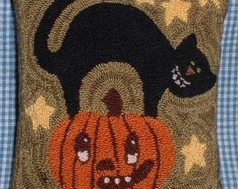 Halloween Needle Punch Pillow Primitive Kitty on a Pumpkin