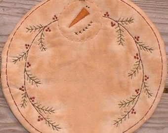 Finished Primitive Stitchery Candle Mat Snowman Greenery Berries