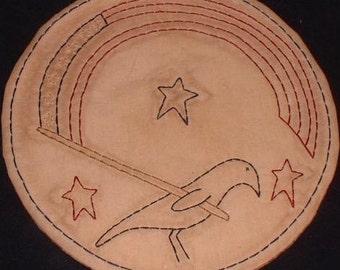 Primitive Stitchery Candle Mat PATTERN Americana Crow Flag Stars