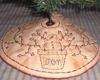 Primitive PATTERN Stitchery Mini Tree Skirt Pot of Joy Snowman