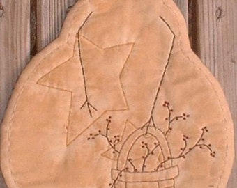 Primitive Stitchery Candle Mat PATTERN Snowman Basket of Berries