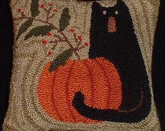 Halloween Primitive Needle Punch Pillow Black Cat Pumpkin and Berries