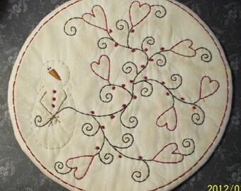 Valentine Stitchery Primitive Candle Mat Snowman And Hearts