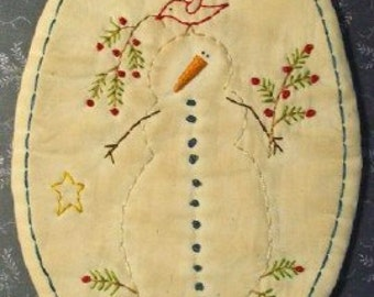 Primitive Pattern Snowman And Red Bird Candle Mat Stitchery