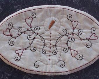 Primitive Stitchery PATTERN Snowman And Hearts Candle Mat