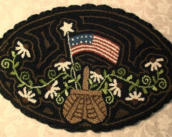 Americana Needle Punch Mat Basket Of Flowers