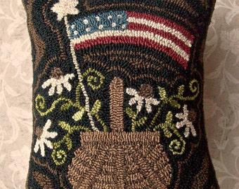 Needle Punch PATTERN Americana Basket Of Black Eyed Susans