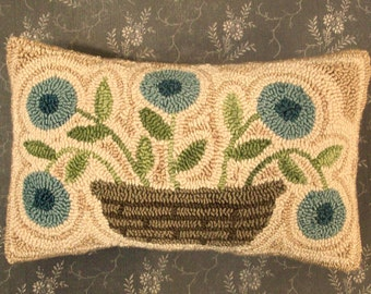 Primitive Needle Punch PATTERN Basket Of Blue Flowers