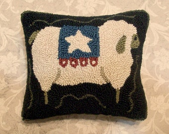 Primitive Needle Punch Pillow Americana Sheep Star Penny Rug