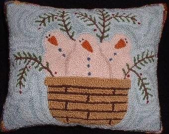 Primitive Needle Punch Pillow Pattern Basket of Snowmen Greenery