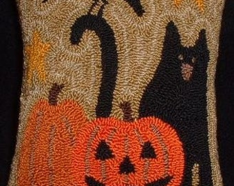 Primitive Needle Punch Pillow Pin Keep Fall Kitty Crow and Pumpkins