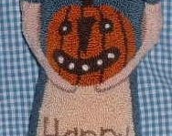 Primitive Needle Punch Pillow Doll Happy Fall Pumpkin