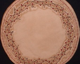 Primitive Stitchery Candle Mat PATTERN Berry Wreath