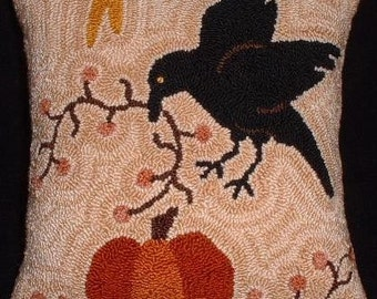 Primitive Needle Punch Pillow Crow Pumpkin Fall