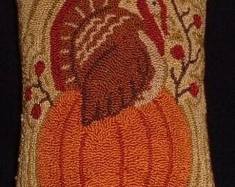 Primitive Needle Punch Pillow Turkey Sitting on a Pumpkin Berries Thanksgiving