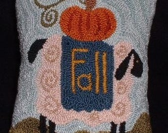 Primitive Needle Punch Pillow PATTERN Fall Sheep and Pumpkin