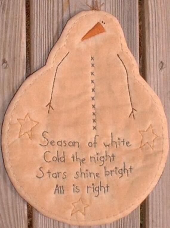 Finished Primitive Stitchery Candle Mat Season of White