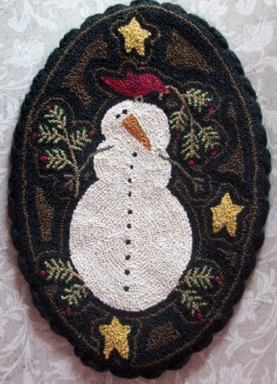Needle Punch Table Mat Primitive Snowman And Red Bird
