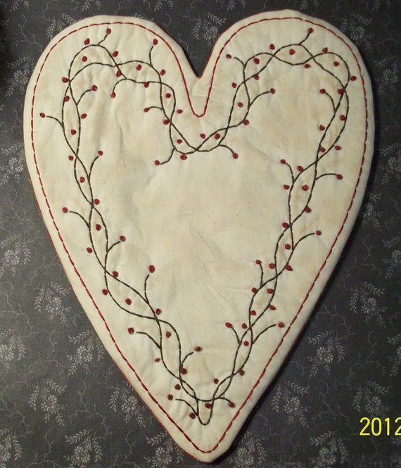 Candle Mat Pattern Primitive Valentine Heart And Berries