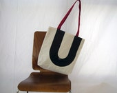 Recycled Sail Tote Bag - Black letter U