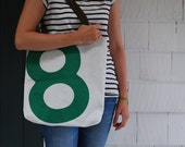 Recycled Sail Beach Tote Bag - Green Number 8
