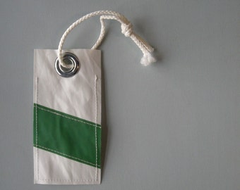 Green Stripe Recycled Sail Luggage Tag