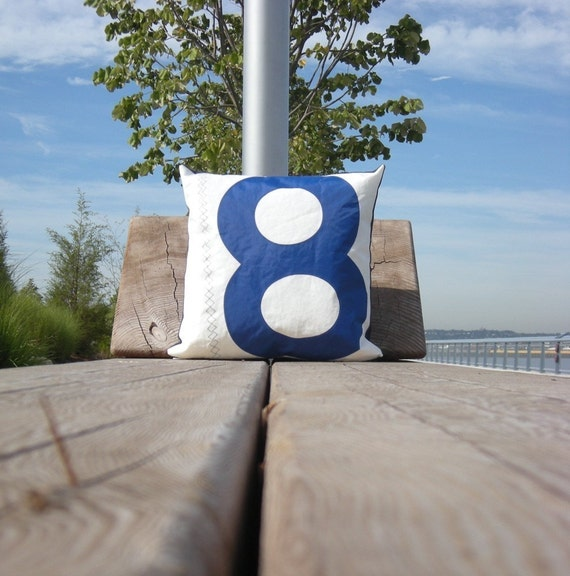 RESERVED Recycled Sail Throw Pillow - Blue number 8