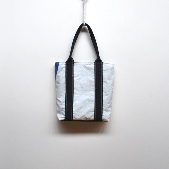 Recycled Sail Tote with Navy Blue Handles