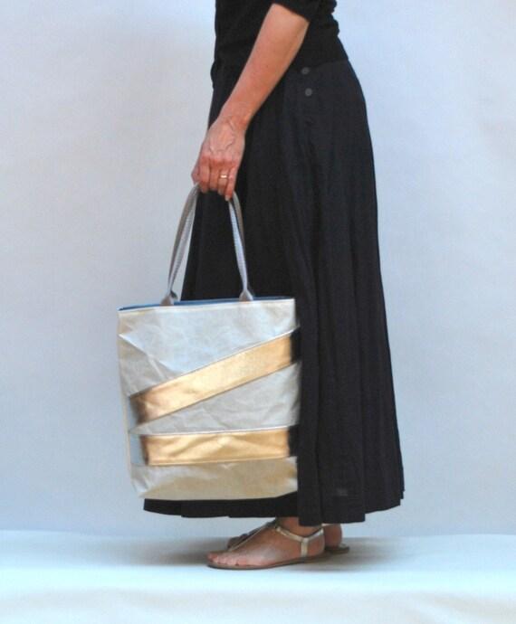 Recycled Sail Beach Bag - Silver Stripes