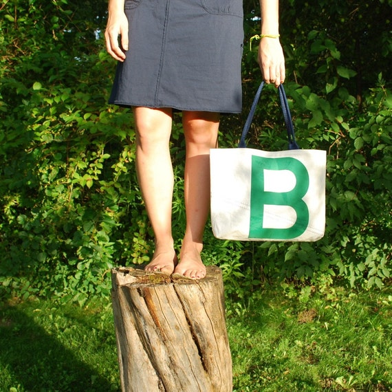 Recycled Sail Middie Purse - Green Letter B