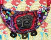 Asian Fabric Mixed Media Beaded Necklace
