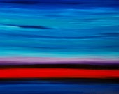 Blue Abstract Painting 36x48 Red Landscape Large Art Sky Large 36x48 Canvas Colorful Shore Modern Landscape 36x48 Black Contemporary Simple