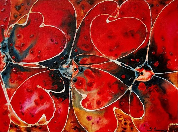 Red Poppy Painting Poppies 24x36 Art Flower Flowers Floral Pretty 24x36 Abstract Love Lovers Texture Canvas Romantic Original Artwork