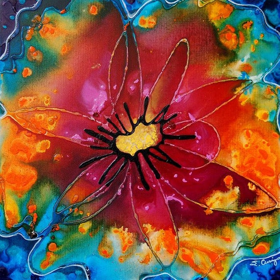 Colorful Painting Abstract Flower Art Floral Tie Die Pink Red Orange Yellow Blue Canvas Summer -  Summer Queen