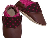 RESERVED - hot dots (pink) - Soft Sole Baby Shoes - 4 Sizes Infant to Toddler - Genuine Leather Shoes