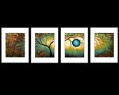 MADART PRINT Set of 4 Abstract ART Modern - GOLD - BURNING HALO