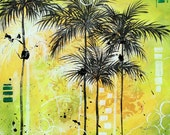 Original Contemporary Painting Tropical Palm Tree Landscape Art MADART 24x24 - Summer Time in the Tropics