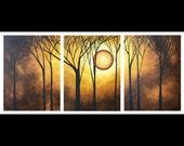 Abstract Landscape Art Huge Modern Original Painting MADART  54x24 - GOLDEN HALO
