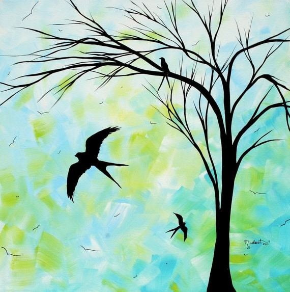 Items similar to SALE Original Contemporary Bird Painting ...