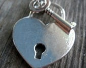 Silver Smooth Lock and Key Necklace - Tiffany Inspired