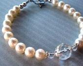 White Pearl Bracelet - Sterling Silver, Freshwater Cultured White Pearls, Rock Crystal Quartz