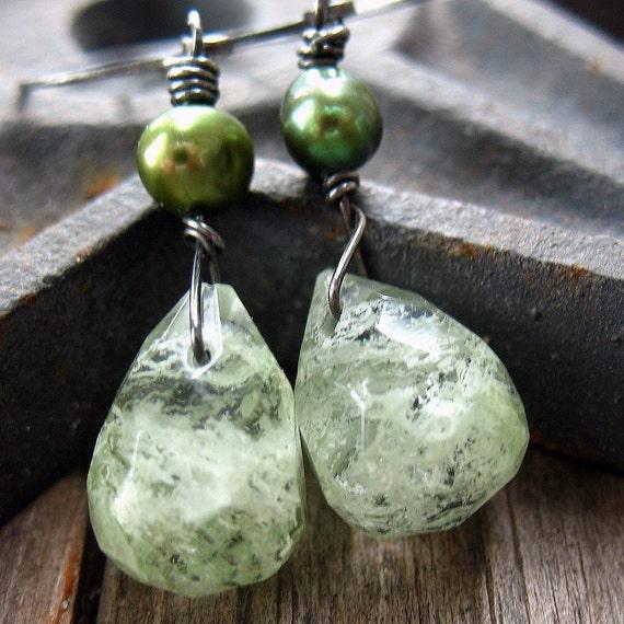 Green Moss Earrings - Oxidized Sterling Silver