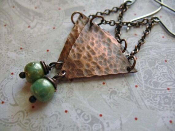 Hand Hammered Copper Earrings, Organic Earrings, Rustic Geometric Triangle, Vintage Blue Green Ceramic Beads, Handcrafted Dangle Earrings,