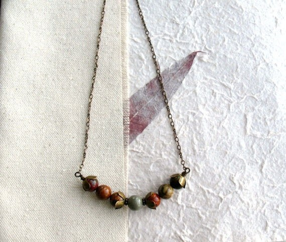 Apple Jasper Necklace - Brown and Green Apple Jasper Gemstone Antiqued Brass Wire Wrapped Fall Fashion Necklace