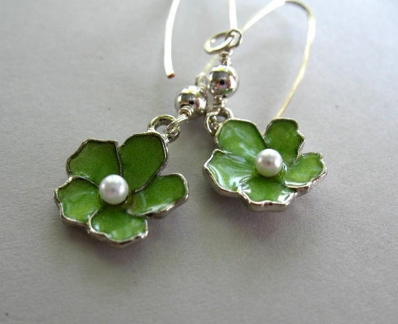 Green Flower Earrings - Enameled Flower,  Pearl Center, Handmade Silver Wishbone Ear Wires